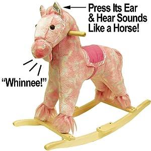HAPPY TRAILST Pink Plush Rocking Pony with Sound