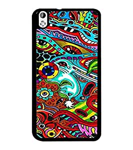 PrintDhaba Pattern D-3209 Back Case Cover for HTC DESIRE 816 (Multi-Coloured)