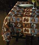 """Printed Linen Fabric Tablecloth 54"""" X 72"""", Cup Cafe Coffee Tea Blue Gray"""