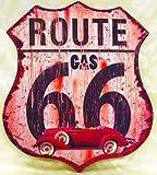 """アンティークエンボスプレート ダイカット""""Route 66"""