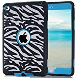 Sean [Shock Absorption] 3in1 Hybrid Shockproof Drop Resistance Protective Armor Defender Case for Ipad Mini 4 (2015 Edition) + 1 S-smile Screen Protector and 1 Pcs S-smile Stylus (Zebra Stripe Blue)