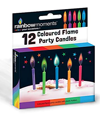 12 Coloured - Flame Party Candles from Boxer Gifts