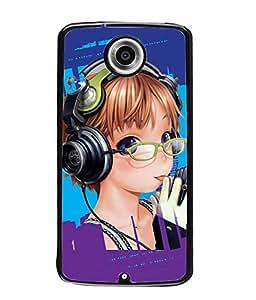 Fuson Music Girl Back Case Cover for MOTOROLA GOOGLE NEXUS 6 - D3865