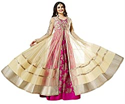 Justkartit Women's Pink & Cream Colour Embroidery Long Anarkali Style Wedding Wear Gown / Gown for special occasion / Wedding wear dress material / Latest Bollywood Fashion