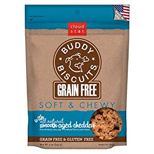 Cloud Star Grain Free Soft and Chewy Buddy Biscuits Dog Treats, Smooth Aged Cheddar, 5-Ounce
