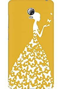 AMEZ designer printed 3d premium high quality back case cover for Lenovo Vibe P1 (yellow dark white girl princess)