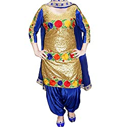 Reet Glamour Women 's Cotton Unstitched Blue And Golden Sequence Worked Punjabi Suit
