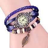 Femme Mode Watch Retro Montre Bracelet PU Cuir Quartz Perle Tressé Rétro Bijoux Décor Wrist Watch Bleu foncé