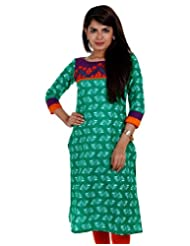 Fresh Green Casual Cotton Kurta From ESTYLe With Embroiderd Yoke