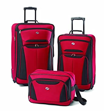 American Tourister Luggage Fieldbrook II 3 Piece Set, Red/Black, One Size
