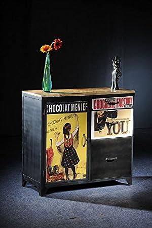 Mangoholz massiv Holz Möbel Vintage lackiert Kommode Massivmöbel vollmassiv Holz Eisen mehrfarbig Detroit #01