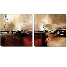 Symphony in Red and Khaki by Maitland 2-pc Premium Gallery-Wrapped Canvas Giclee Art Set (Ready to Hang)