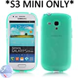 Arbalest® Semitransparent TPU Cover Gel Case For Samsung GT-I8190 GALAXY S3 MINI [*MINI ONLY,Not I9300*] - Turquoise , with Arbalest Screen Protector for Samsung Galaxy S3 Mini I8190, Cleaning Cloth and ScreenGuard Applicator