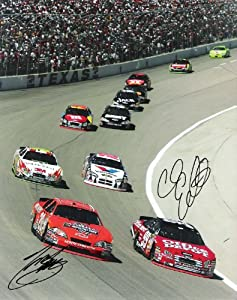 TONY STEWART #20 and CARL EDWARDS 99 (NASCAR DRIVERS) Signed 8x10 Color Photo -... by Sports Memorabilia