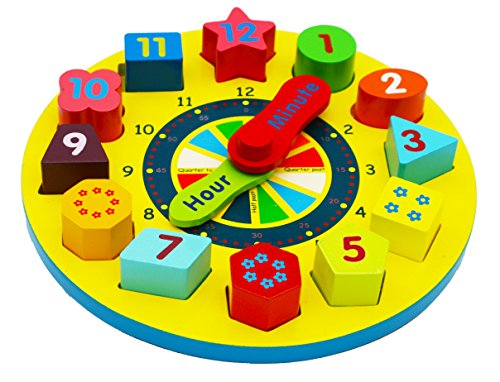 Toys of Wood Oxford Wooden Sorting Clock/ Wooden With Numbers And Shapes Blocks - PROMOTION OFFER