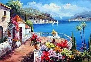 Beautiful Tuscany Italian Castle Ocean Beach Flower Garden - Charming