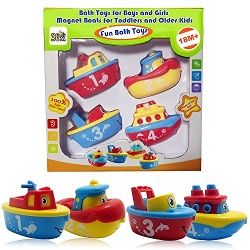 3 Bees & Me Bath Toys for Boys and Girls – Magnet Boats for Toddlers and Older Kids – Fun and Educational 4 Boat Set