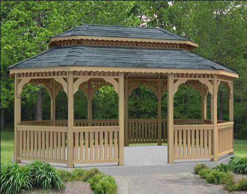 16' x 28' Cedar Oval Double Roof Gazebo