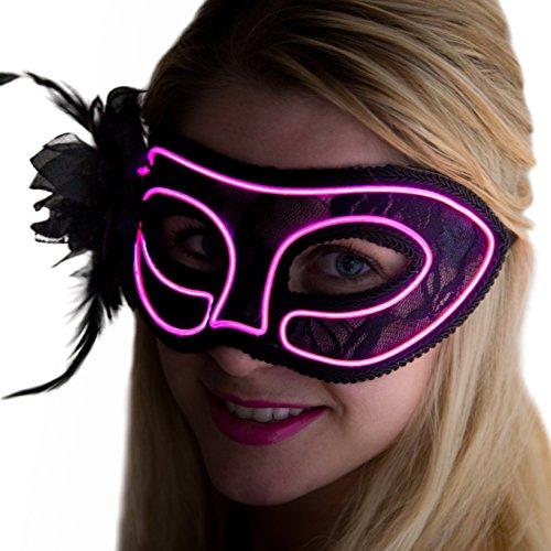 Neon Nightlife Women's Light Up Venetian Mask Mardi Gras Masquerade, Pink