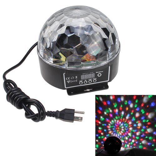 Pysical Stylish 20W Dmx Voice-Activated Rgb Led Crystal Magic Ball Laser Effect Light For Disco Dj Party Bar Club Christmas Show(Us Regulatory Plug)5 Mix Colors (Red, Green, Blue, Orange, White)
