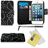 Apple iPhone 5 / 5G / 5S Black Diamond Bling Sparkly Glitter Leather Wallet Flip Case Cover Pouch + Diamond Retractable Touch Stylus Pen + Screen Protector & Polishing Cloth