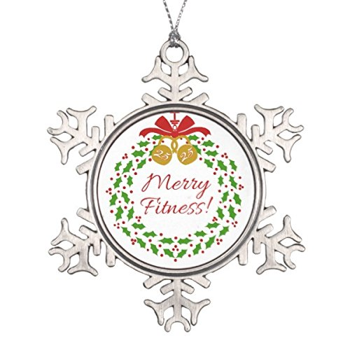 Follies Christmas Merry Fitness Wreath Pewter Snowflake Ornament