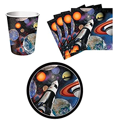 Space Blast Party Birthday Party Supplies Set Plates Napkins Cups Kit for 16