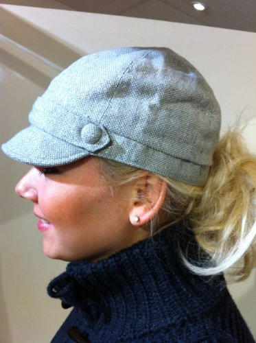 Grey Tweed Design Ladies Rhyl Cap (Cp25) - Womens Hat With Lurex Thread Detail - One Size Fits All - Ideal Stocking Filler