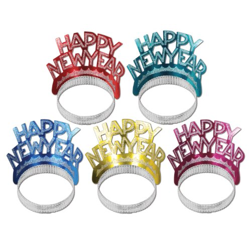 Happy New Year Tiaras (asstd colors) Party Accessory  (1 count)