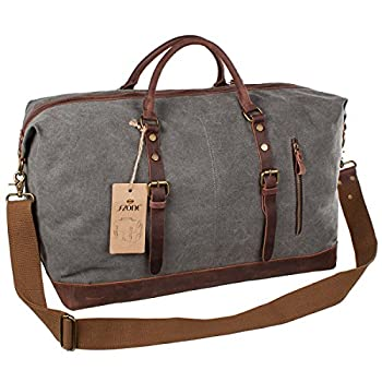 S-ZONE Oversized Canvas Leather Trim Travel Tote Duffel Bag For Mens