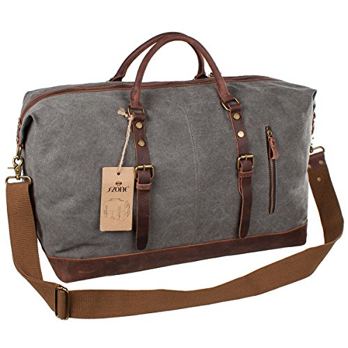 Canvas Leather Trim Travel Bag