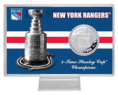 "NHL New York Rangers Stanley Cup ""History"" Coin Card, 8"" x 4"" x 1"", Silver"