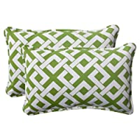 Pillow Perfect Indoor/Outdoor Boxin Corded Rectangular Throw Pillow, Green, Set of 2 by Pillow Perfect
