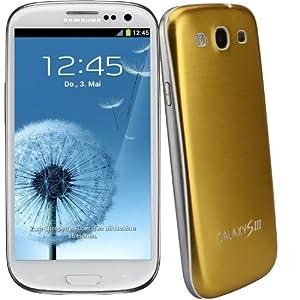 xubix Full Metal Akkudeckel für Samsung i9300 Galaxy S3 Gold brushed Metall Aluminium mit dezent weißem Rand