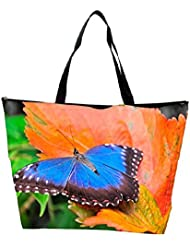 Snoogg Blue Butterfly In Orange Leaf Designer Waterproof Bag Made Of High Strength Nylon