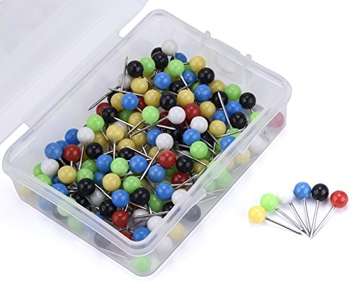 JoyFamily Map Tacks Push Pins ,1/5 Inch Round Head,3/5 Inch Total Length, Package of 150 Pcs (Assorted Colors) (World Map Round compare prices)