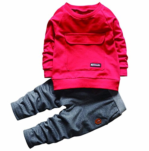 2PCS Baby Boys Girls Cartoon Clothing Set Long Sleeve Shirt and Pants 2Years Red