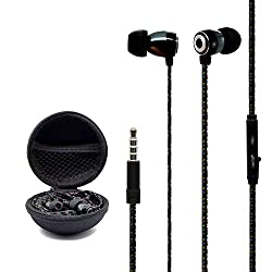 eBerry Latest Braided Fabric Wrapped Cords In-ear Earphones Headphones Headset with Inline Microphone Headphone Carrying Case for for iPhone 6 Plus 6 5S 5C 5 4S Samsung S6 S6 edge S5 S4 Note 4 3 2 iPad iPod LG HTC Blackberry Android Tablet and More