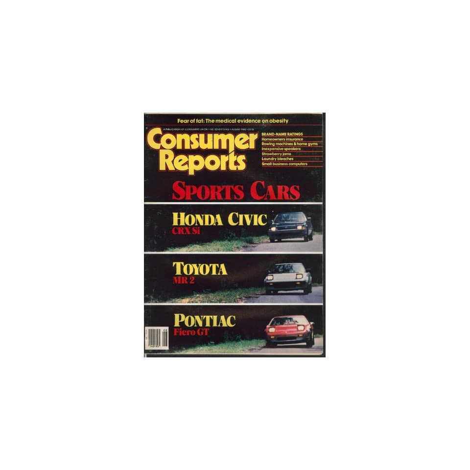CONSUMER REPORTS Honda Civic CRX Si Toyota MR 2 Pontiac Fiero GT 8 1985 Entertainment Collectibles