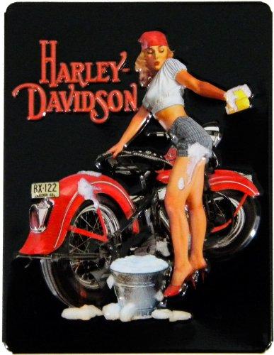 Harley-Davidson Wash Babe Embossed Tin Magnet 3-1/2