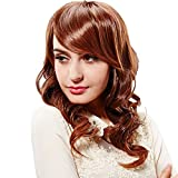 Hsg Sexy New High Quliaty Wigs Long Light Brown Wavy Curly Full Hair Wigs With Fringe Bangs Tf1122