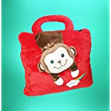 ShopyBucket Cute Animal Face Baby Bag Cum Super Soft Velvet Covering Blanket Size 42 X 56""