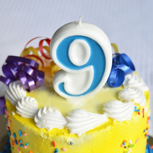 "Number ""9"" Numerals Birthday Party Cake Candle - Blue"