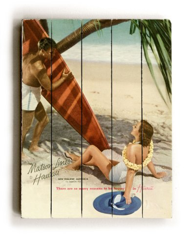 "ArteHouse planked wood sign 18"" x 24"" Vintage Hawaii Wall Décor"