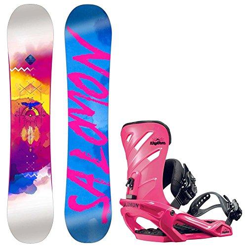 Damen Snowboard Set Salomon Lotus 151 + Rhythm Pink 2017 Snowboard Set