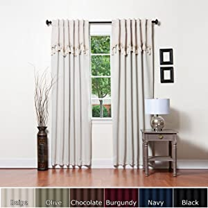 """Beige Thermal Blackout Curtain With Attached Scallop Valance 104""""W x 84""""L Pair - BOC"""