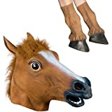 Signstek Latex Horse Head Mask with 1 Pair Horse Hooves Gloves