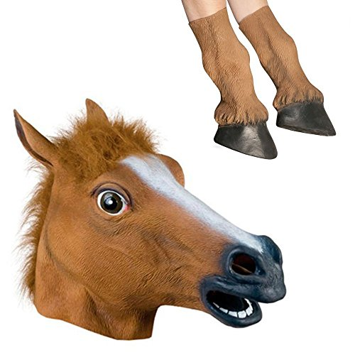 Signstek Latex Horse Head Mask with 1 Pair Horse Hooves Gloves (Brown)