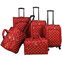 American Flyer Fleur-de-Lis 5-piece Spinner Luggage Set (Red)