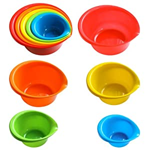 5 Piece Plastic Mixing Bowls with Built-in Pouring Spouts, Nesting Bowl Set, Assorted... by Nested Mixing Bowls
